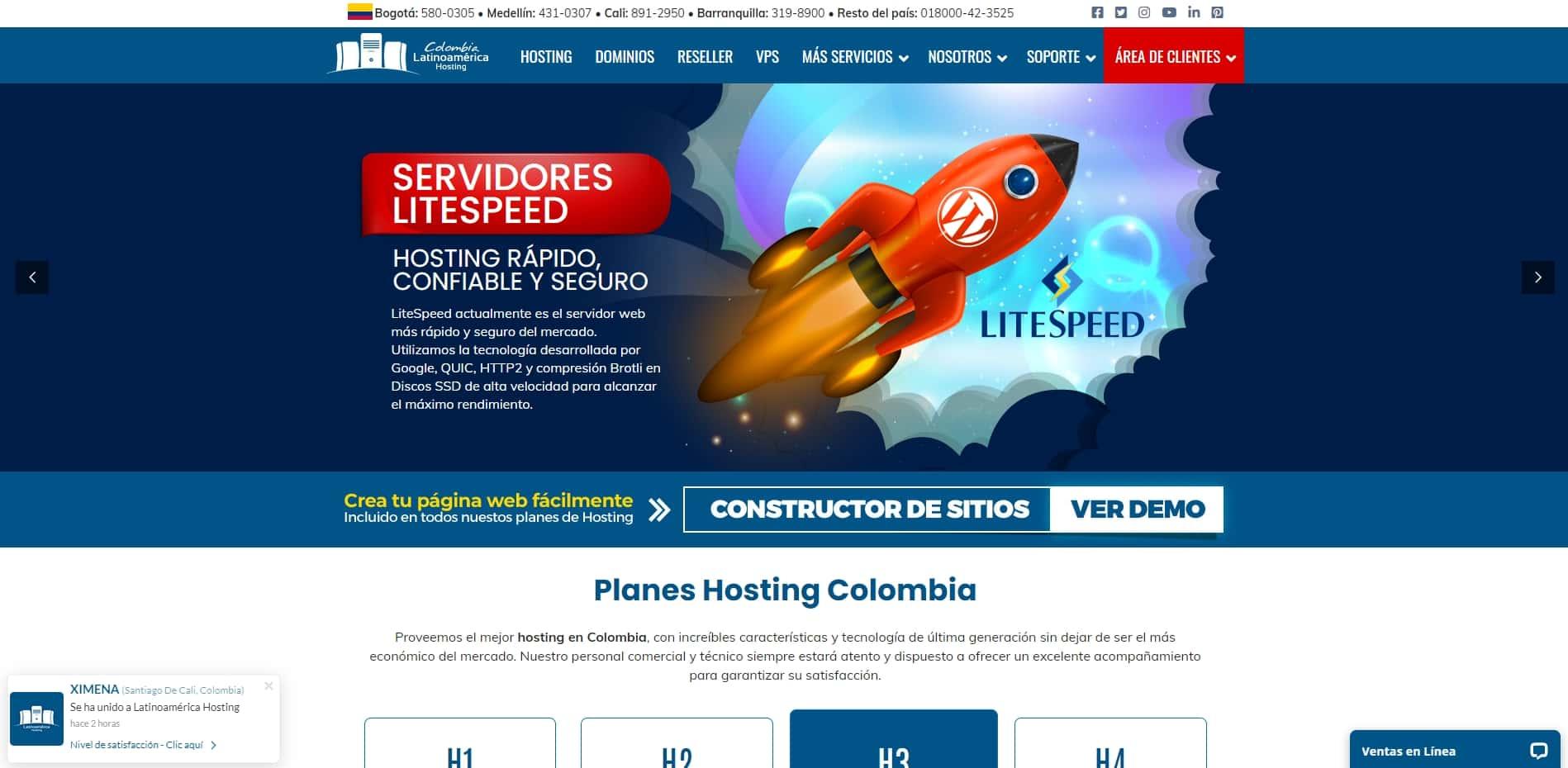 colombia latinoamerica hosting web