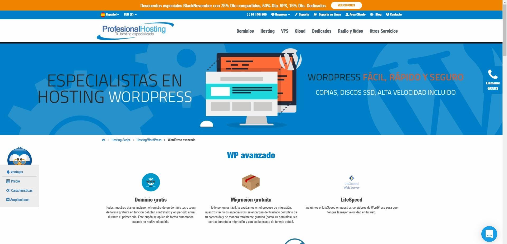 Profesional hosting web