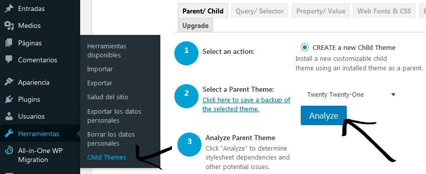 Plugin child theme configurator 2