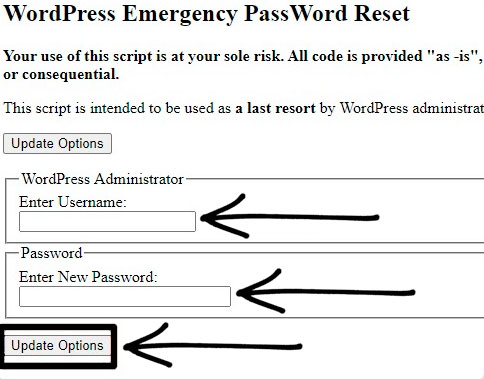 pagina php cambio contraseña wordpress