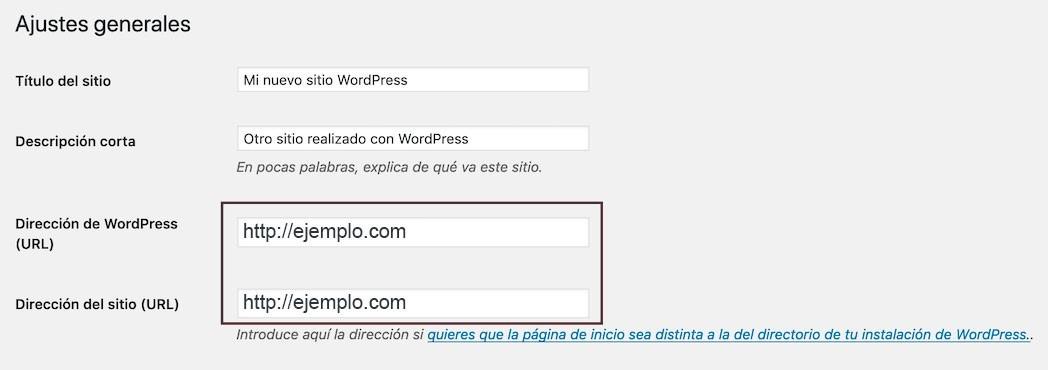 Dirección wordpress url