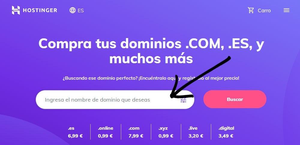 comprar dominio hostinger