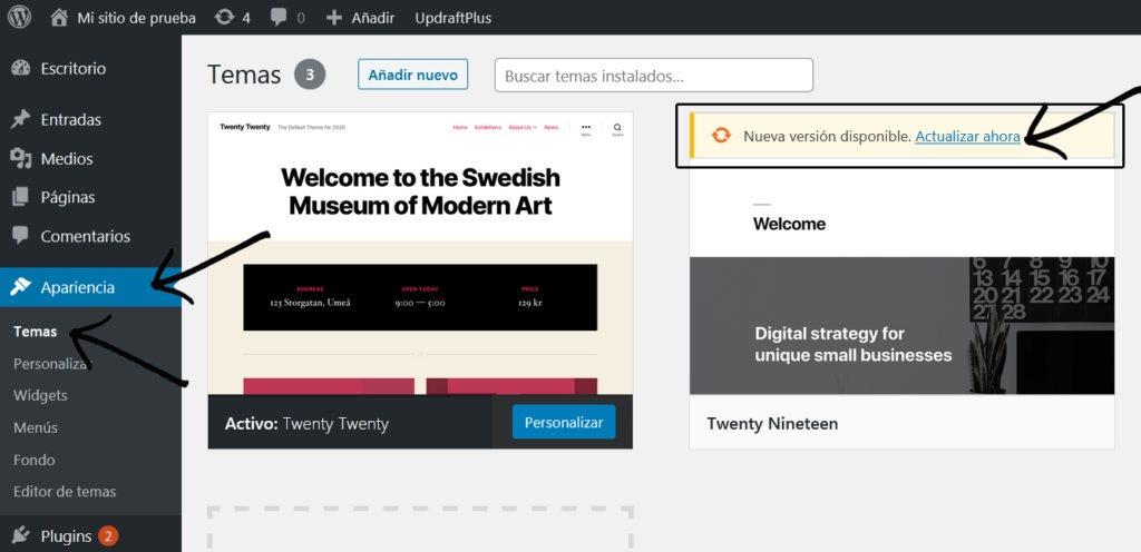 Actualizar themes wordpress