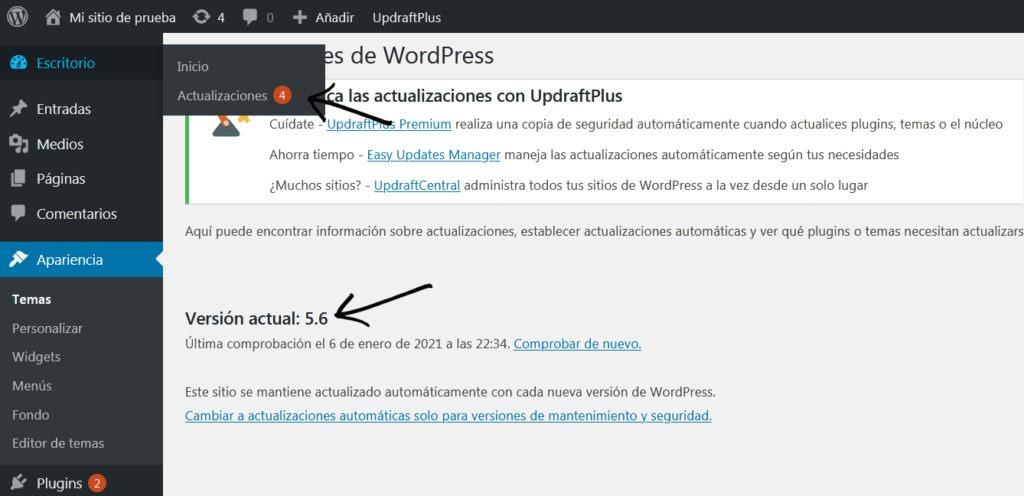 Actualizar version wordpress