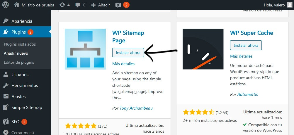 Instalar WP Sitemap Page