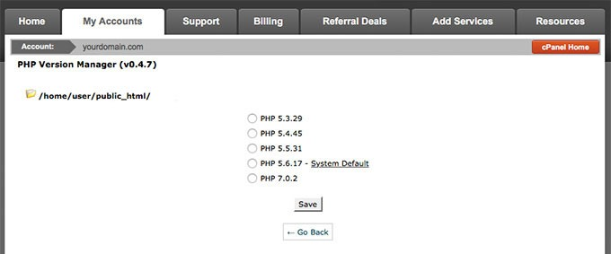 Version php cpanel